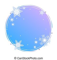 Winter circle shape concept. Snowflakes on blue round background template. Blank snowy backdrop decoration element. Color snow frame with copy space poster design. Frost vector web banner layout