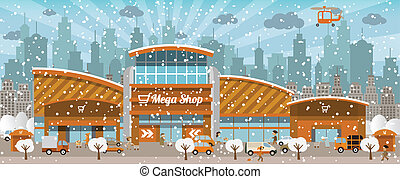 (winter), città, shopping