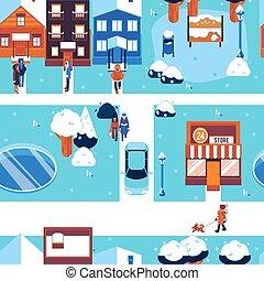 Winter city landscape seamless pattern in flat vector illustration.