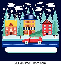 Winter city landscape with firs in flat style.