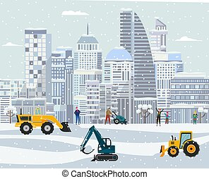 Winter city landscape with plow trucks cleaning snow. Cartoon poster
