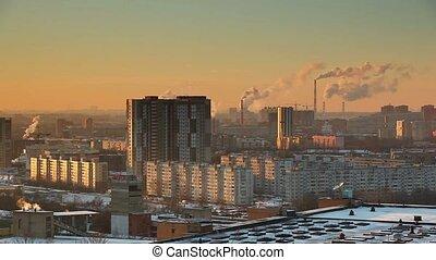 Winter city panorama.