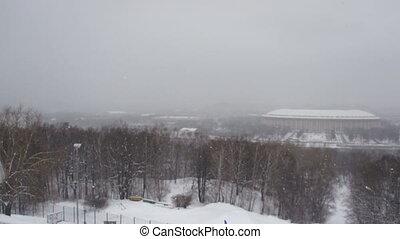 Winter city park landscape video