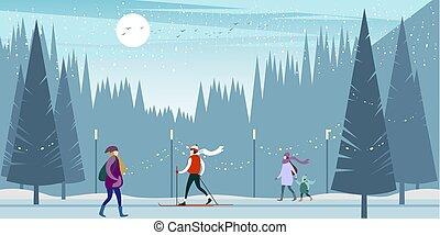 winter city people