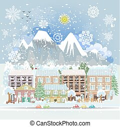 winter city scenery