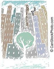 Winter city tree