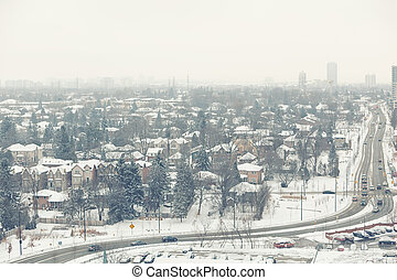 Winter city view sububrs toned