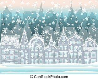 Winter city wallpaper, vector illustration