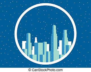 Winter city with skyscrapers. Snow-covered metropolis, the outlines of buildings. Vector illustration