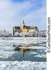 A cold but sunny day in Saskatoon, Canada with the hoarfrost on the trees.