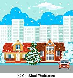 Winter cityscape buildings