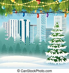 Winter cityscape with tree garland background