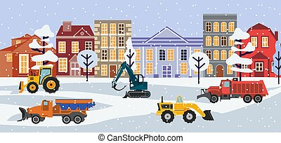 Winter cityscape with working snow plow vehicle, flat vector illustration.
