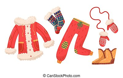 Winter Clothes Collection, Cold Weather Accessories, Mittens, Woolen Socks, Warm Fur Jacket Vector Illustration