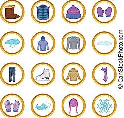 Winter clothes vector set, cartoon style