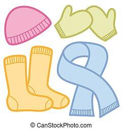 Winter Clothing Cap Socks Mittens Scarf