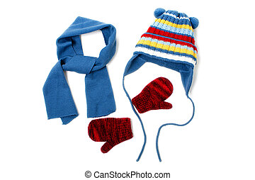 Winter clothing - Cold winter clothing - hat or cap, scarf, ...