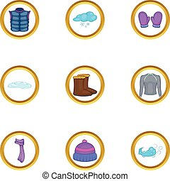 02dd077e Vector set of hand drawn winter clothing icons. knitted scarf and ...