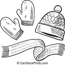 Doodle style winter clothing illustration in vector format suitable for web, print, or advertising use. Includes mittens, scarf, and stocking cap.