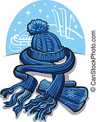 winter clothing, wool scarf, mittens and hat