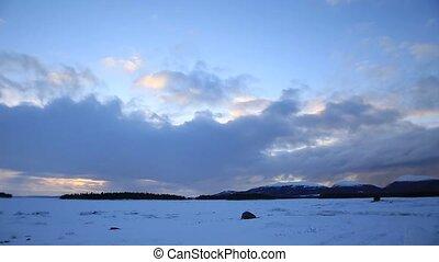 winter clouds timelaps, Russian winter