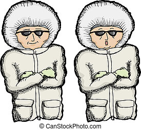 Cartoon of person with coat and folded arms