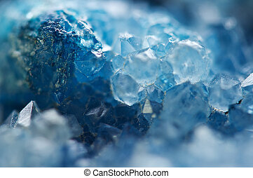 Winter cold background, blue crystals. Macro - Winter cold ...