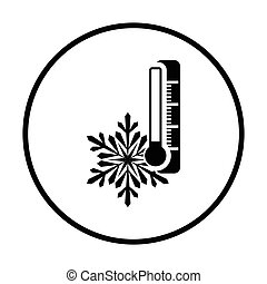 Winter cold icon. Thin circle design. Vector illustration.