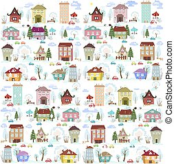 winter collection funny houses with trees for your design