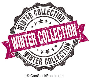 winter collection grunge violet seal isolated on white