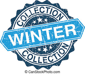 Winter collection grungy stamp isolated on white background