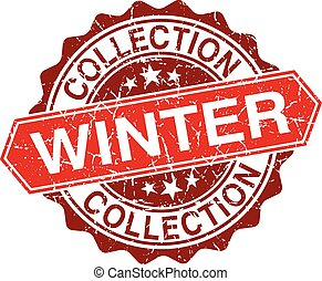 Winter collection red vintage stamp isolated on white background