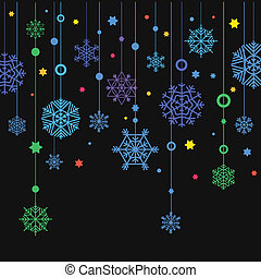 Winter color snowflakes abstract background