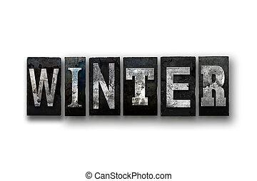Winter Concept Isolated Letterpress Type
