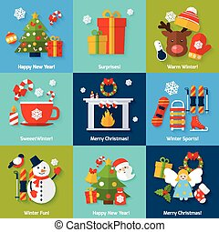 Winter concept set - Winter and christmas concept set with ...