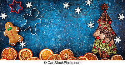 Christmas cookies and spices - Winter concept with Christmas...