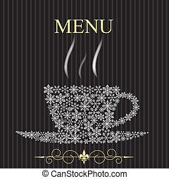 winter., concetto, menu ristorante, illustrazione, vettore