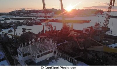 winter condition of logistic ships, aerial shooting - winter...