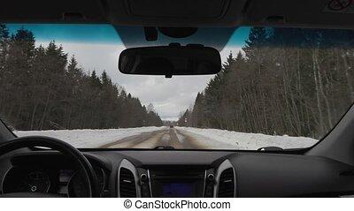 winter., conduite, voiture, nuageux, temps, taxi, vue