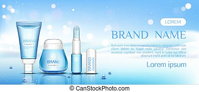 Winter cosmetic chapstick, lip balm and cream jar