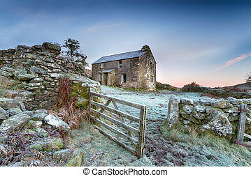 Winter Cottage - An old abandoned cottage on a frosty winter...