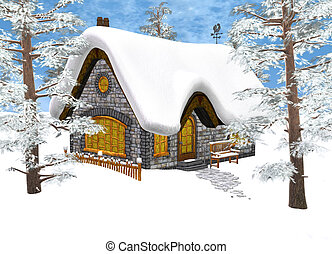 Xmas Cottage In A Small Hut On Christmas Eve Stock Illustration