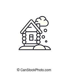 Winter cottage linear icon concept. Winter cottage line vector sign, symbol, illustration.