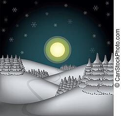 winter countryside illustration in a night