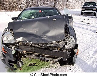 Winter Crash - Car crash on an icy country road.