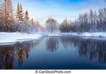 Winter landscape on a stream in South Yakutia, Russia