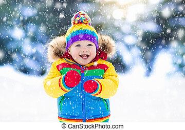 winter., crianças, neve, criança, outdoors., tocando