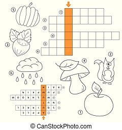 Winter crossword for kids. Task and answer.