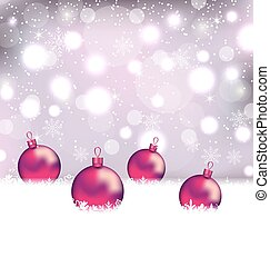 Winter cute background with Christmas balls