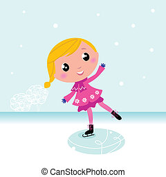Winter: Cute Child ice skating on frozen lake